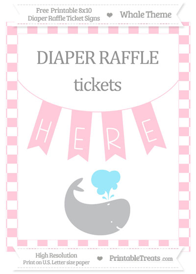 Free Pink Checker Pattern Whale 8x10 Diaper Raffle Ticket Sign