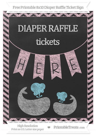 Free Pink Chevron Chalk Style Baby Whale 8x10 Diaper Raffle Ticket Sign