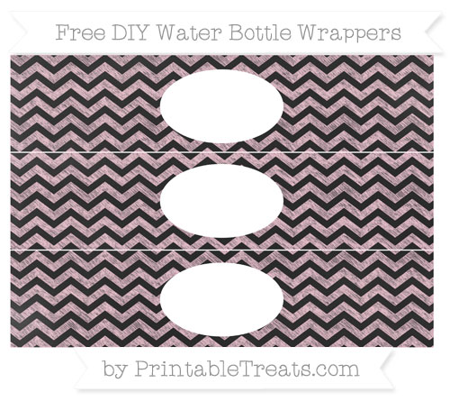 Free Pink Chevron Chalk Style DIY Water Bottle Wrappers