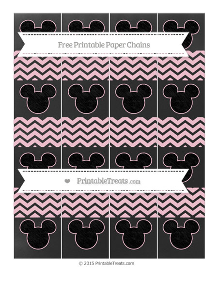 Free Pink Chevron Chalk Style Mickey Mouse Paper Chains