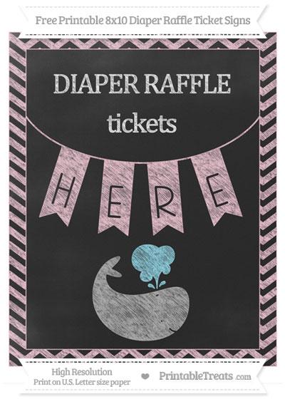 Free Pink Chevron Chalk Style Whale 8x10 Diaper Raffle Ticket Sign