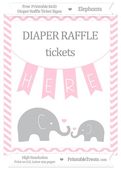 Free Pink Chevron Elephant 8x10 Diaper Raffle Ticket Sign