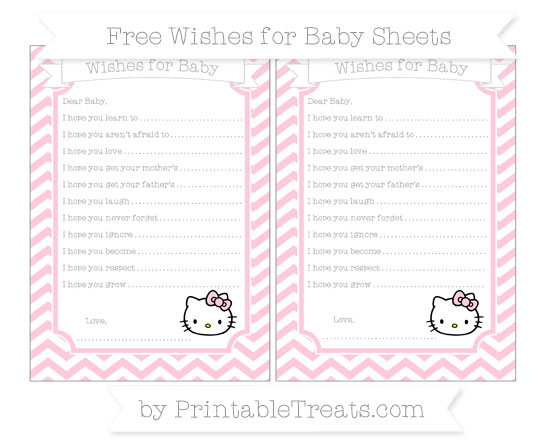 Free Pink Chevron Hello Kitty Wishes for Baby Sheets