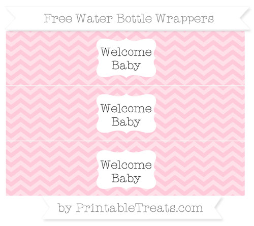 Free Pink Chevron Welcome Baby Water Bottle Wrappers