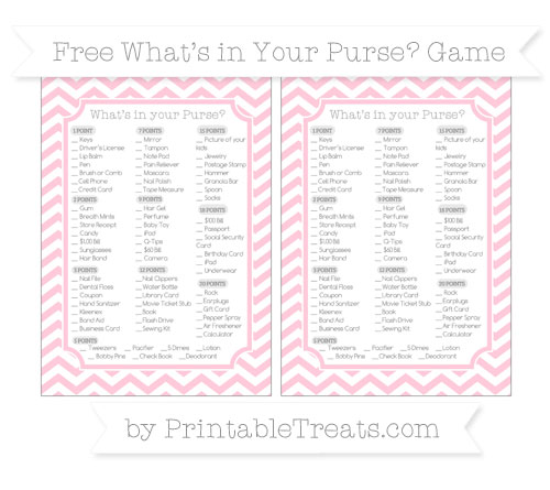 Free Pink Chevron What's in Your Purse Baby Shower Game