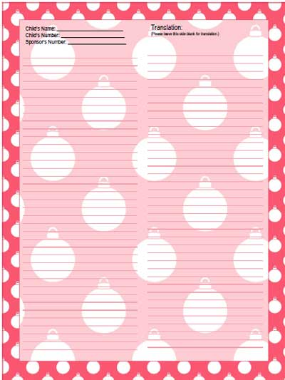 pink christmas ornament stationery for sponsored child