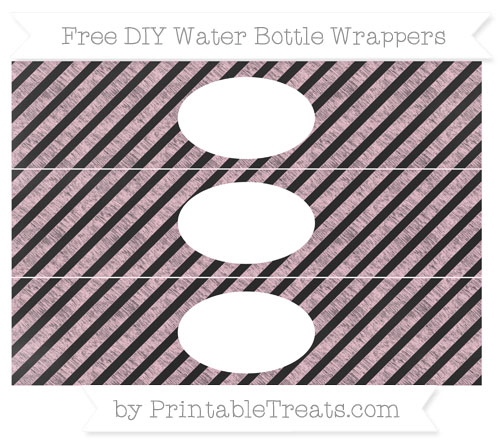 Free Pink Diagonal Striped Chalk Style DIY Water Bottle Wrappers