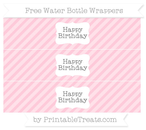 Free Pink Diagonal Striped Happy Birhtday Water Bottle Wrappers