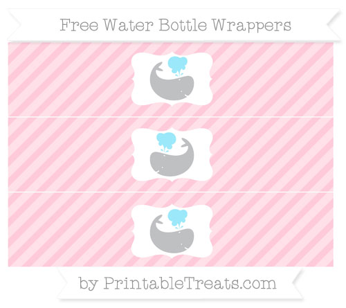 Free Pink Diagonal Striped Whale Water Bottle Wrappers