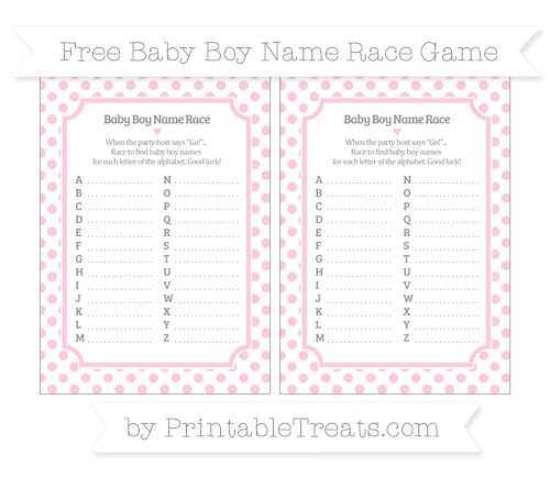 Free Pink Dotted Pattern Baby Boy Name Race Game