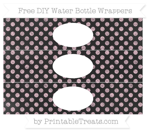 Free Pink Dotted Pattern Chalk Style DIY Water Bottle Wrappers