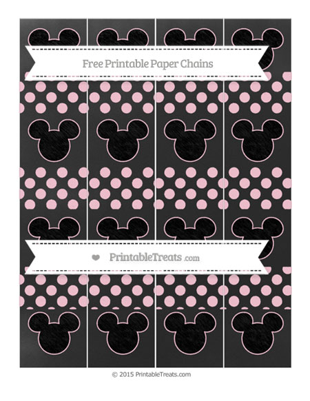 Free Pink Dotted Pattern Chalk Style Mickey Mouse Paper Chains