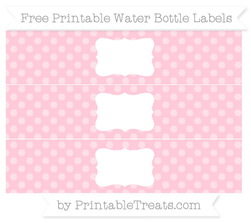 Free Pink Dotted Pattern Water Bottle Labels