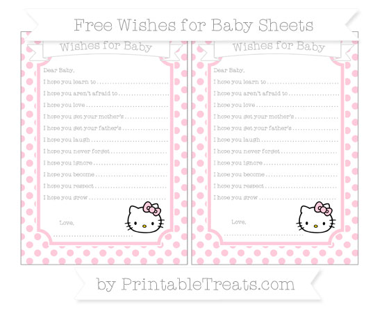 Free Pink Dotted Pattern Hello Kitty Wishes for Baby Sheets