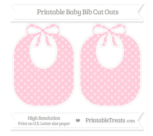 Free Pink Dotted Pattern Large Baby Bib Cut Outs