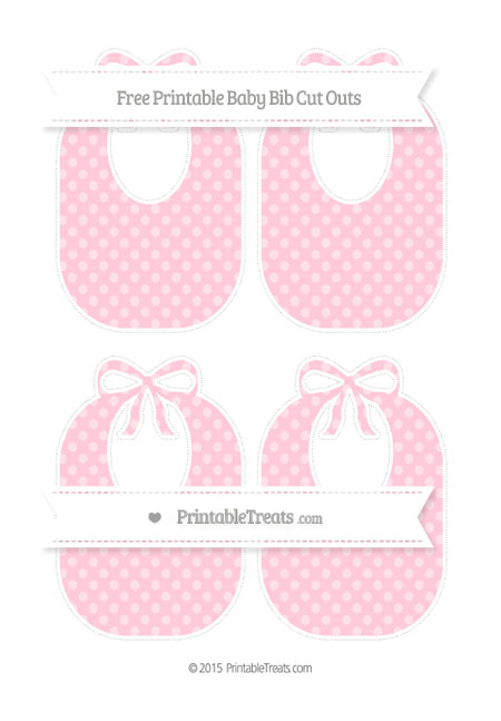 Free Pink Dotted Pattern Medium Baby Bib Cut Outs