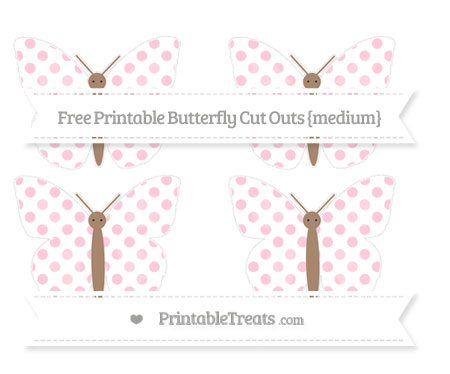 Free Pink Dotted Pattern Medium Butterfly Cut Outs