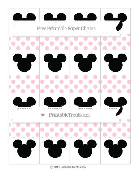 Free Pink Dotted Pattern Mickey Mouse Paper Chains
