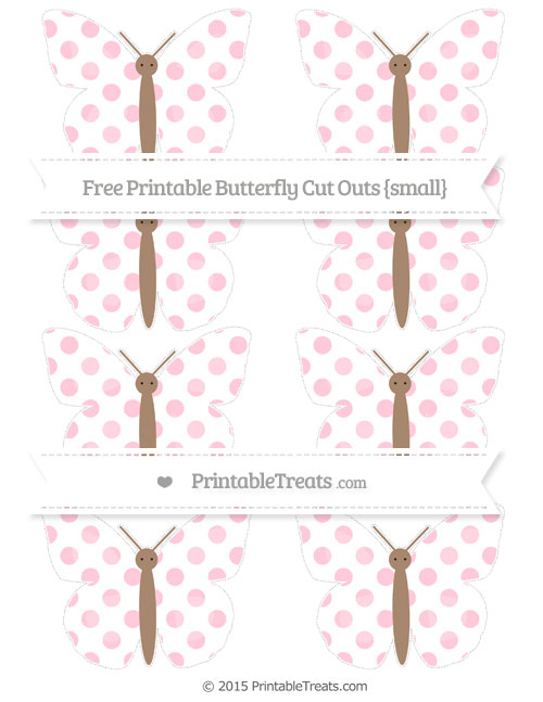 Free Pink Dotted Pattern Small Butterfly Cut Outs
