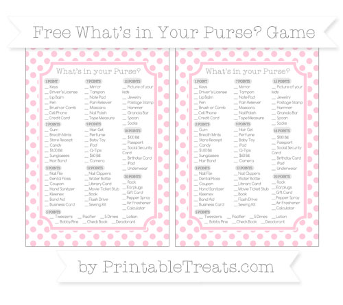 Free Pink Dotted Pattern What's in Your Purse Baby Shower Game