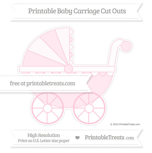 Free Pink Extra Large Baby Carriage Cut Outs