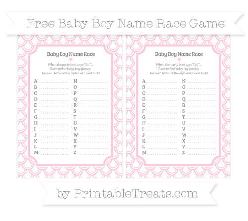 Free Pink Fish Scale Pattern Baby Boy Name Race Game
