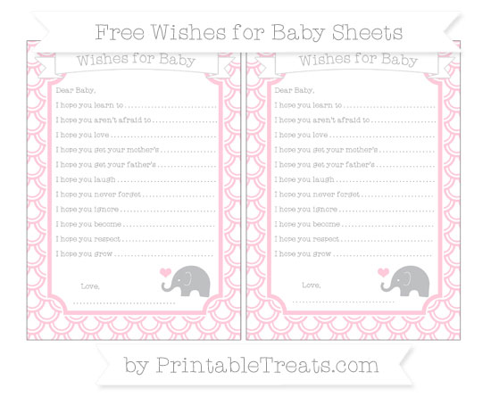 Free Pink Fish Scale Pattern Baby Elephant Wishes for Baby Sheets