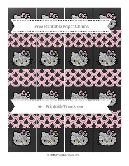 Free Pink Fish Scale Pattern Chalk Style Hello Kitty Paper Chains
