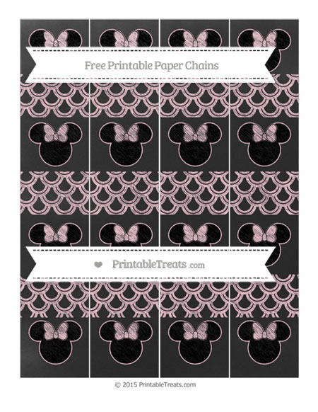 Free Pink Fish Scale Pattern Chalk Style Minnie Mouse Paper Chains