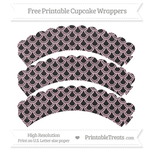 Free Pink Fish Scale Pattern Chalk Style Scalloped Cupcake Wrappers