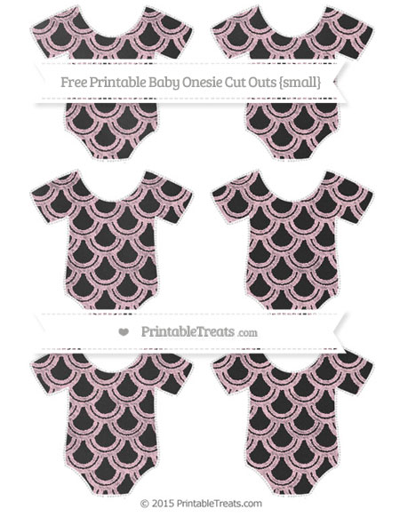 Free Pink Fish Scale Pattern Chalk Style Small Baby Onesie Cut Outs