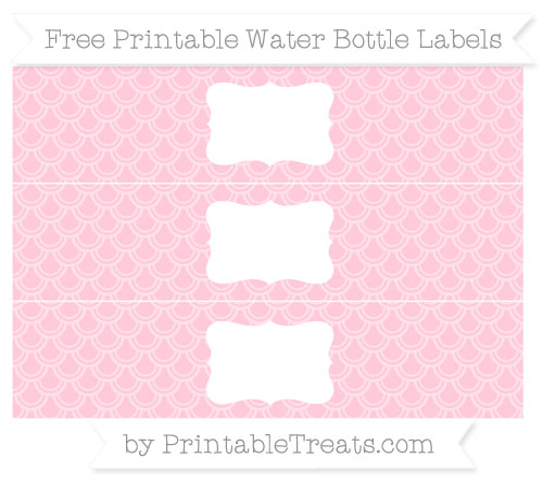 Free Pink Fish Scale Pattern Water Bottle Labels