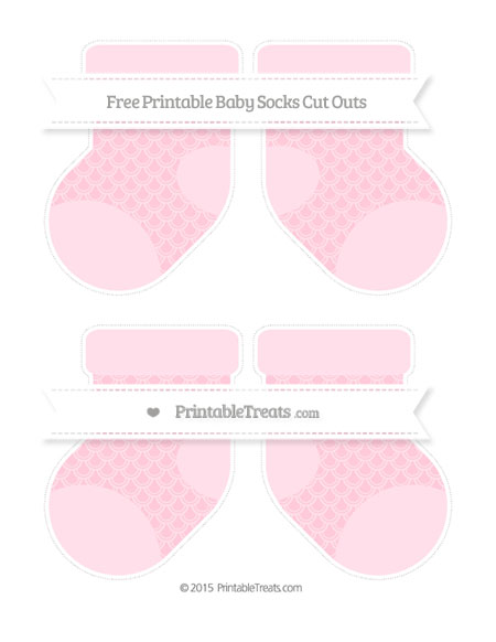 Free Pink Fish Scale Pattern Medium Baby Socks Cut Outs