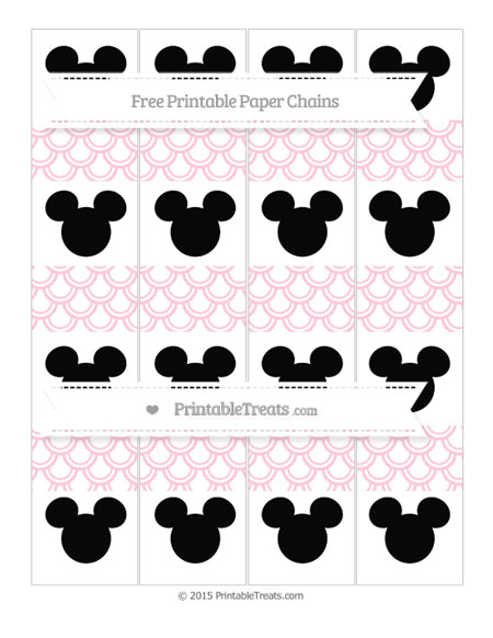 Free Pink Fish Scale Pattern Mickey Mouse Paper Chains