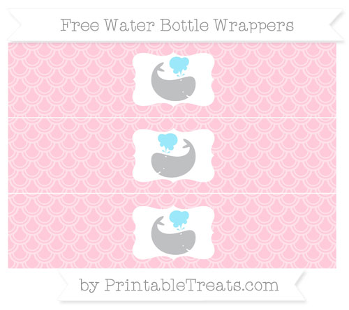 Free Pink Fish Scale Pattern Whale Water Bottle Wrappers