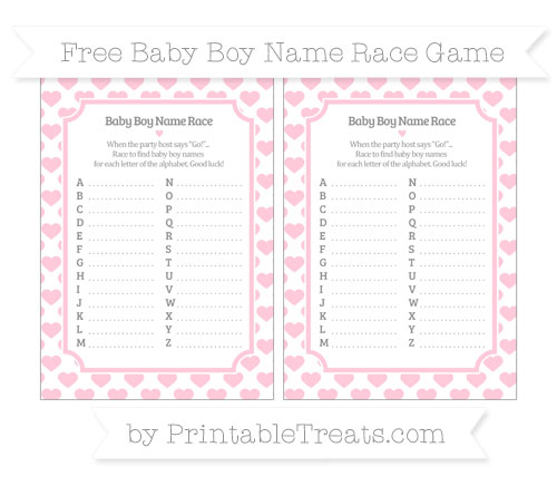 Free Pink Heart Pattern Baby Boy Name Race Game