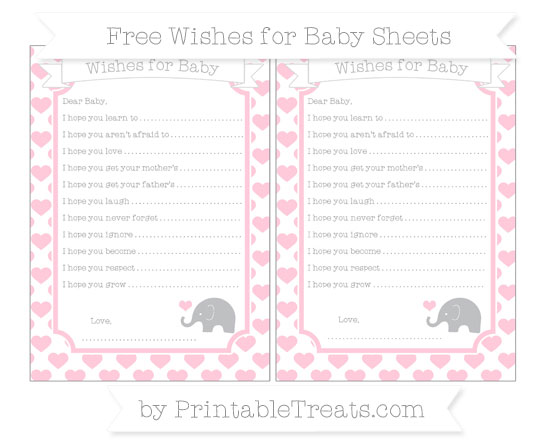 Free Pink Heart Pattern Baby Elephant Wishes for Baby Sheets