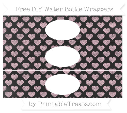 Free Pink Heart Pattern Chalk Style DIY Water Bottle Wrappers