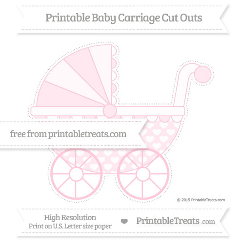 Free Pink Heart Pattern Extra Large Baby Carriage Cut Outs