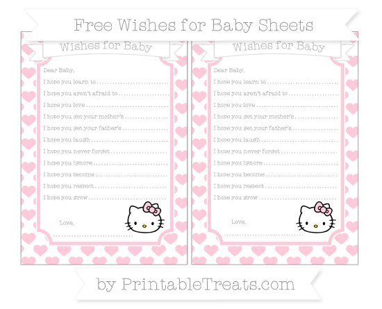 Free Pink Heart Pattern Hello Kitty Wishes for Baby Sheets