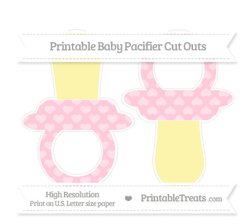 Free Pink Heart Pattern Large Baby Pacifier Cut Outs