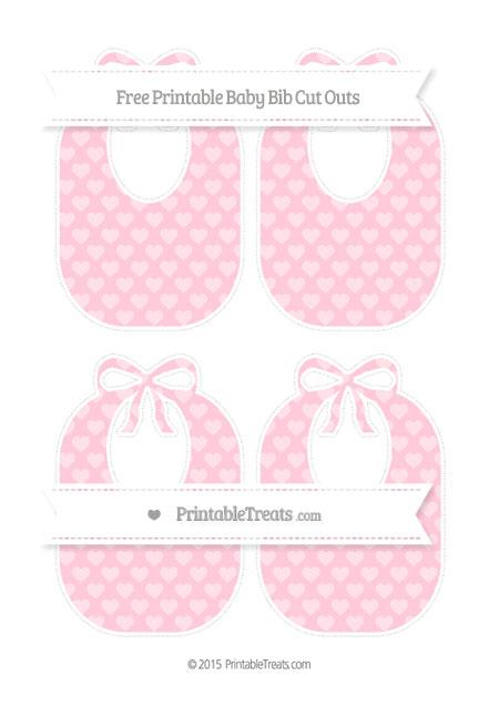 Free Pink Heart Pattern Medium Baby Bib Cut Outs