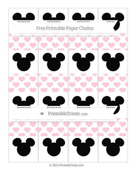 Free Pink Heart Pattern Mickey Mouse Paper Chains