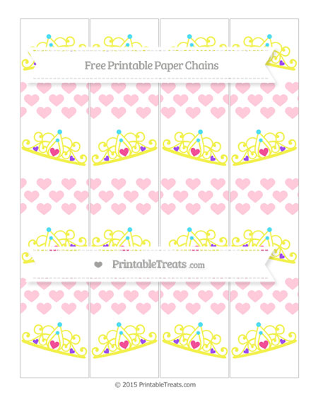 Free Pink Heart Pattern Princess Tiara Paper Chains
