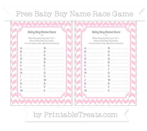 Free Pink Herringbone Pattern Baby Boy Name Race Game
