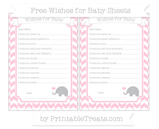 Free Pink Herringbone Pattern Baby Elephant Wishes for Baby Sheets