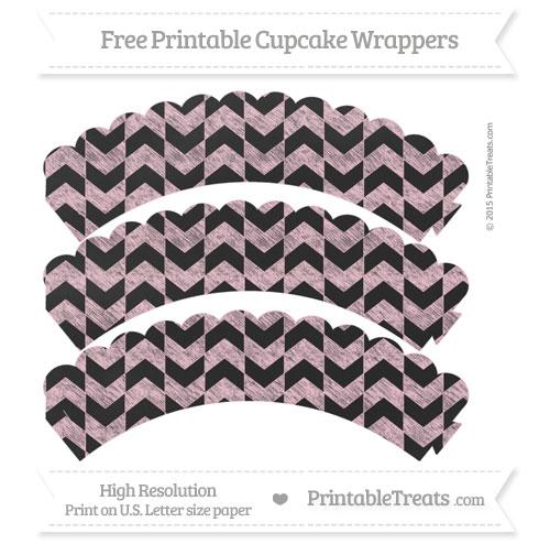 Free Pink Herringbone Pattern Chalk Style Scalloped Cupcake Wrappers