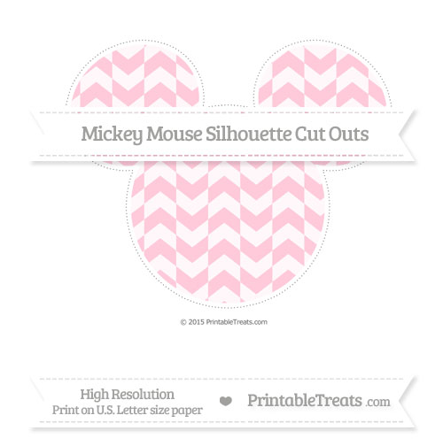 Free Pink Herringbone Pattern Extra Large Mickey Mouse Silhouette Cut Outs