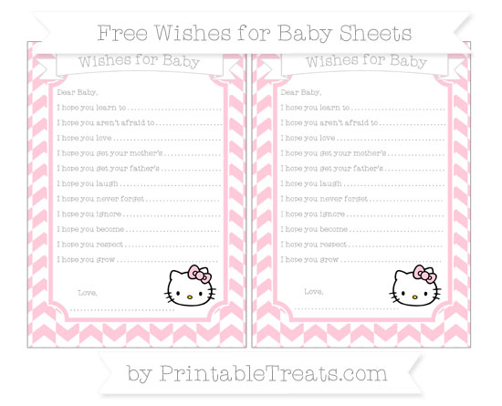 Free Pink Herringbone Pattern Hello Kitty Wishes for Baby Sheets