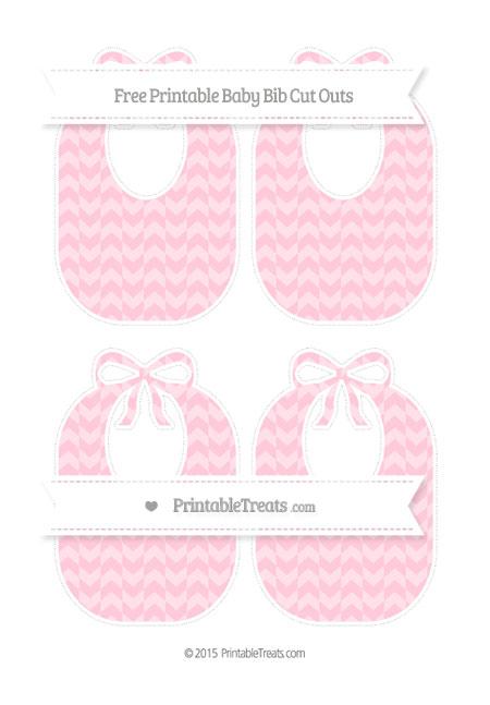 Free Pink Herringbone Pattern Medium Baby Bib Cut Outs